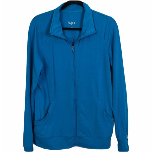 Hyba Athletic Zippered Bright Blue Jacket Size L